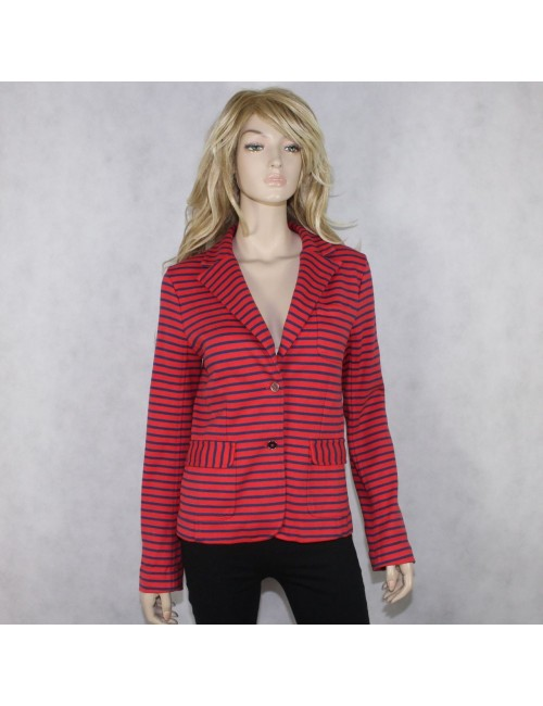 MARC BY MARC JACOBS womens striped Flame Scarlet blazer!