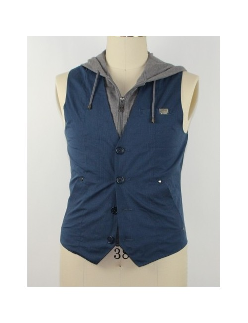GUESS mens nate plaid hooded vest