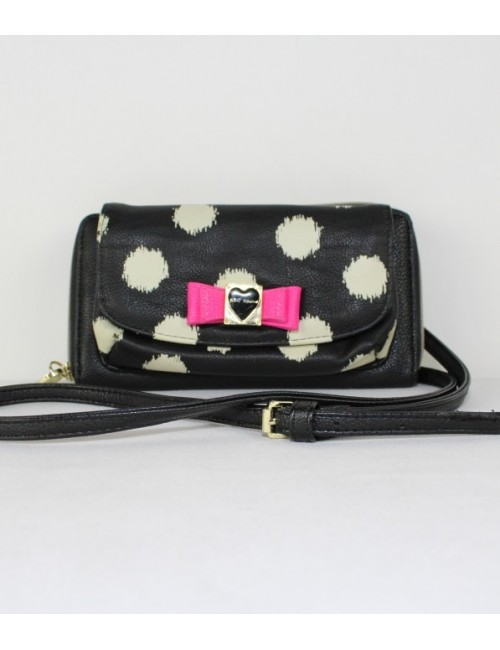 BETSEY JOHNSON womens dots print cross body bag