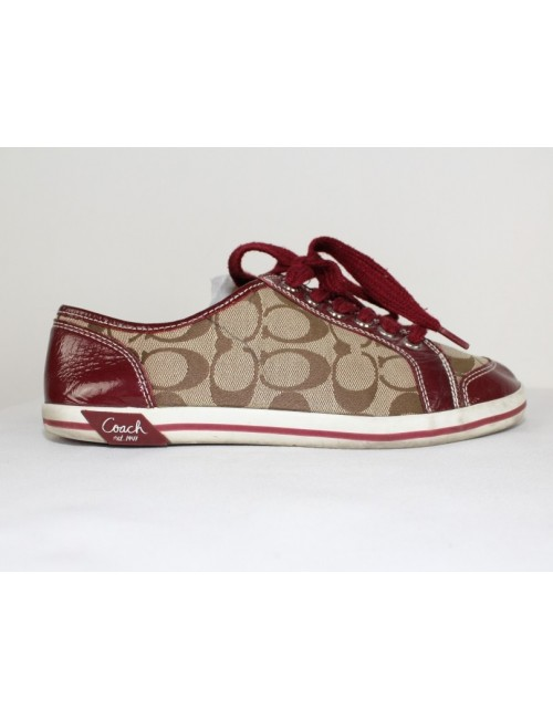COACH brodi signature khaki plum patent leather sneakers