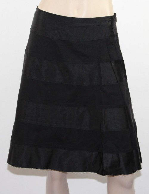 CACHE Black Silk A-Line Skirt Size 10