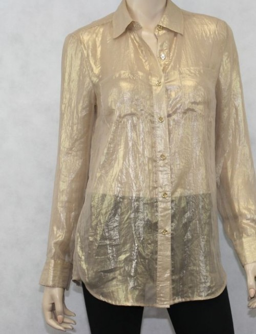 MICHAEL KORS transparent button down blouse (size S)