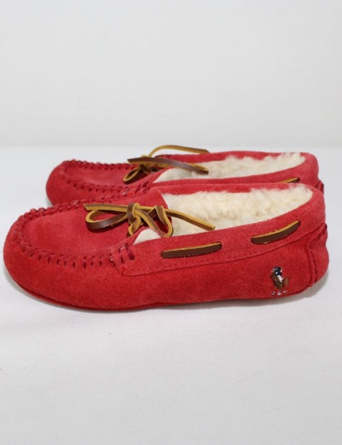 RALPH LAUREN Kids leather moccasin Slippers