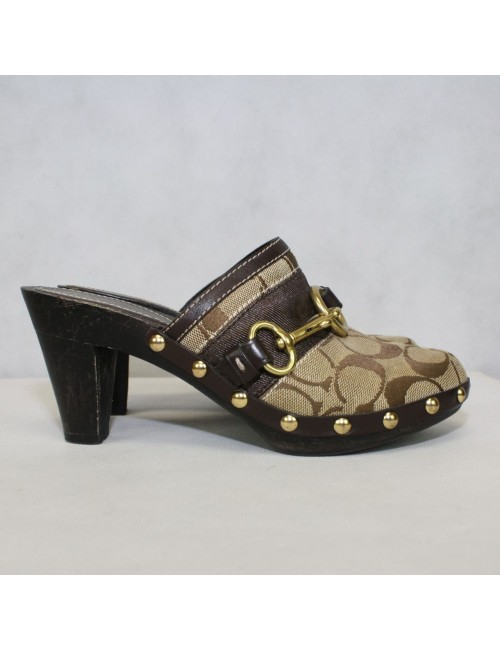 COACH brown signature sutton clogs!