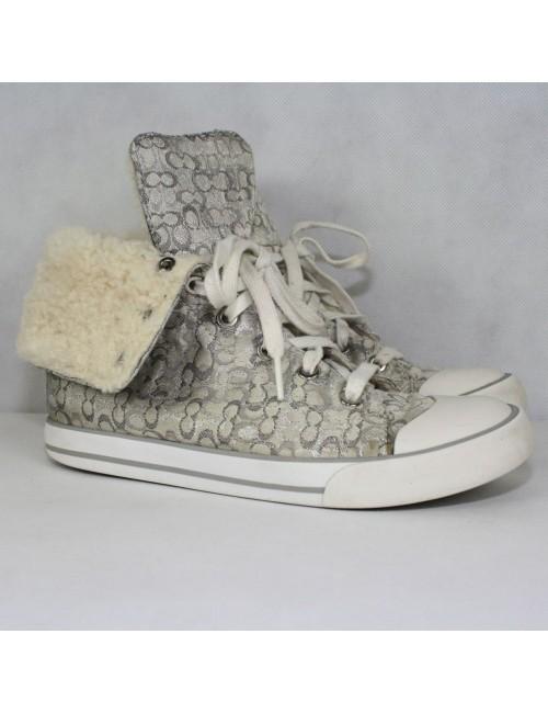 COACH BONNEY Shearling Hi-Top Fur Boot-Sneakrers