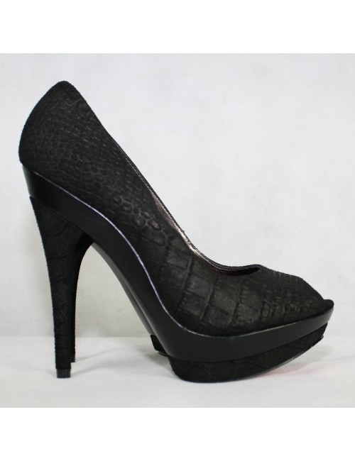 PARIS HILTON Roxy black leather peep toe pumps Size 8M