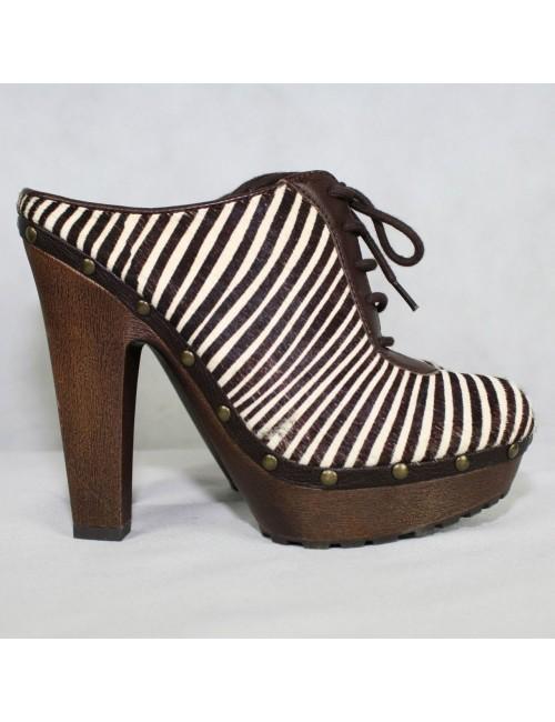 SAM EDELMAN Faye calf hair leather clogs Size 8M