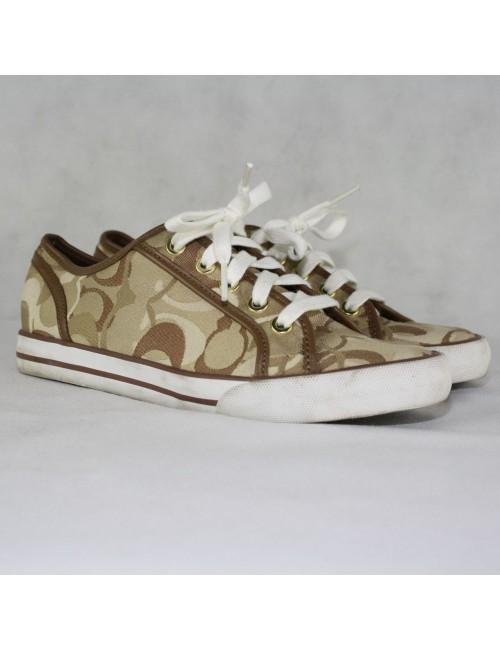 COACH Dee Optic Khaki Signature Tennis Shoes Size 6.5B