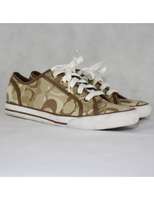 COACH Dee Optic Khaki Signature Tennis Shoes Size 6.5B
