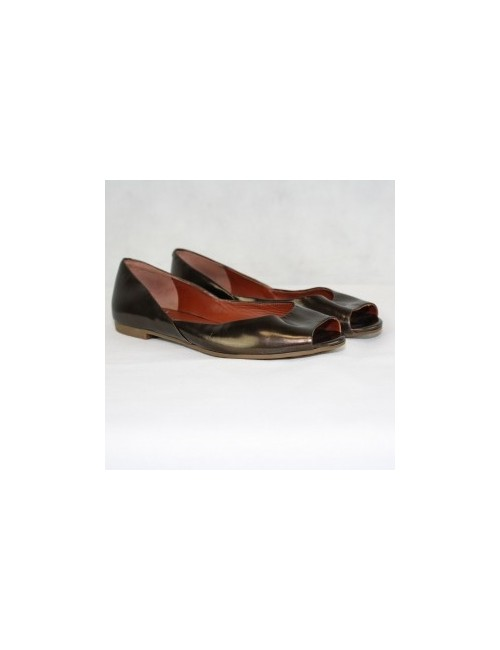 Marc By Marc Jacobs Metallic Leather Open Toe Flats Size EU 36/US 6