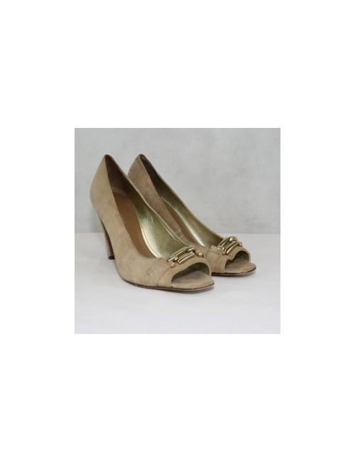 Banana Republic Beige Leather Open Toe Heels Size 8