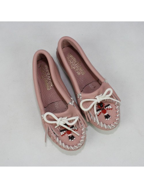 MINNETONKA MOCCASIN girls beaded pink leather shoes!