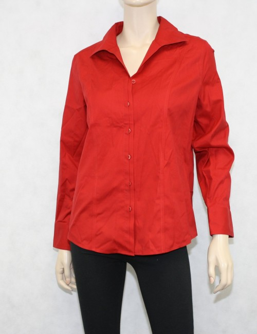 Chicos Red Cotton Shirt Size US 8-10/ Chicos Size 1