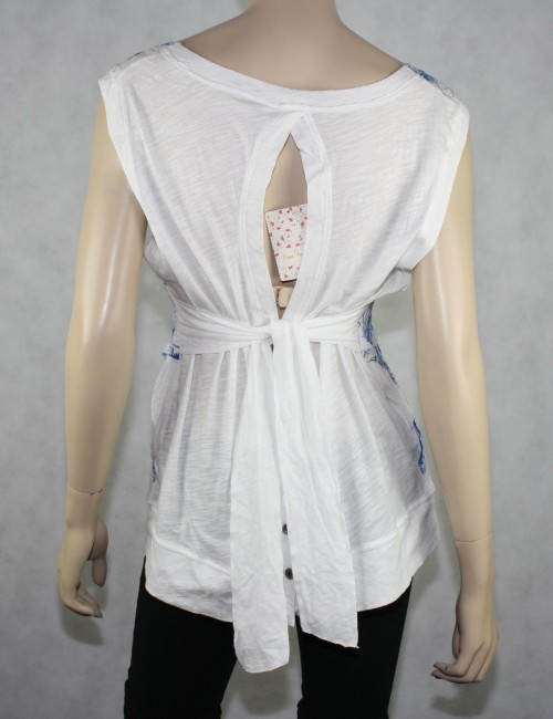 Free People White Cotton Top Size L