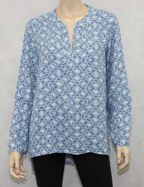 Chicos Jeanius Blues Janice Long Sleeves Pattern Majestic Blue Top Size US 8/10
