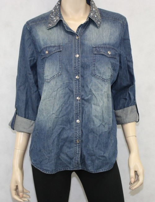 Chicos Flashy Denim Donna Long Sleeve Indigo Size M New