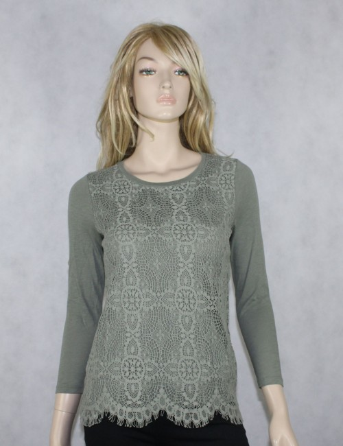 J.CREW Womens Green Crochet Lace Front Tee!