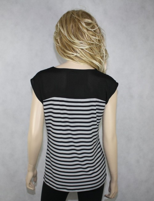 CALVIN KLEIN womens black/white top (M)