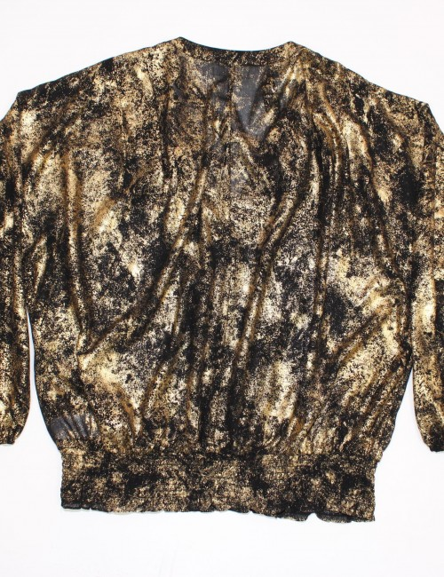 MICHAEL MICHAEL KORS womens black/gold blouse (1X)