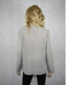 MAX STUDIO Light Gray Long Sleeves Sheer Blouse (L)