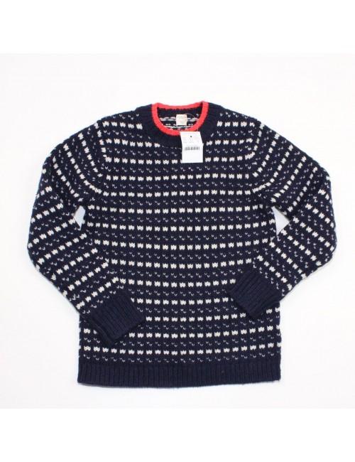 CREWCUTS Boys Navy Lambswool Norwegian Dot Sweater!