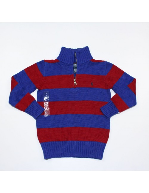 POLO BY RALPH LAUREN Boys Blue-red Knit Half zip Sweater