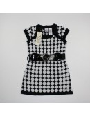 GUESS Black-White Knit Dress with a belt for girls