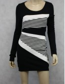2B Bebe Kara Long Sleeve Black Dress Size M new
