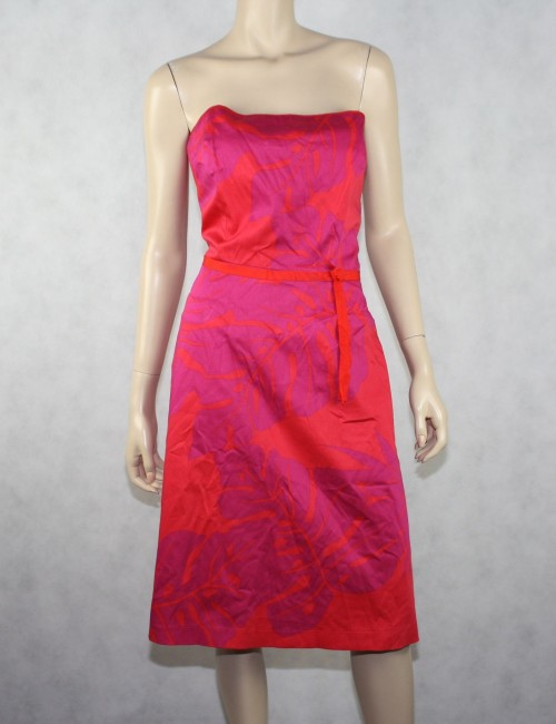 Laundry by Shelli Segal Coral &Pink Cotton Dress Size 8