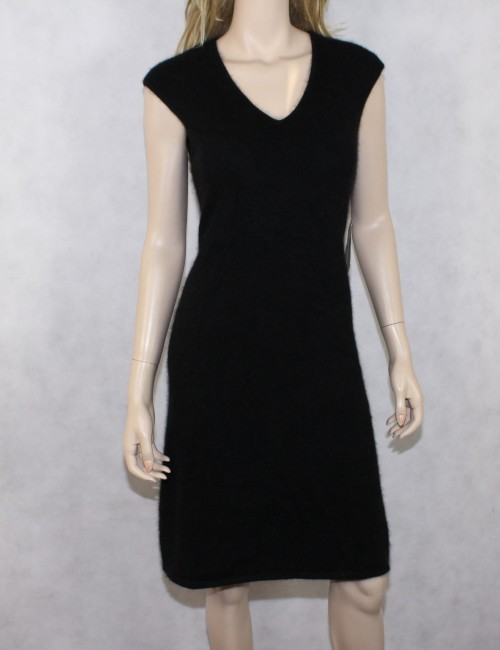 RALPH LAUREN womens black sweater dress with angora rabbit hair (L)