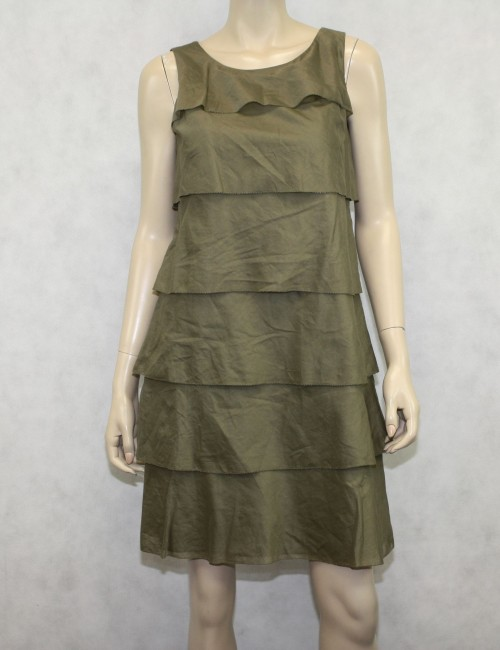 Talbots Olive Green Ruffle Dress Size 8P