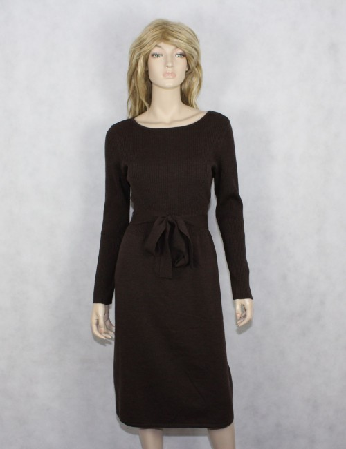 TALBOTS womens brown sweater dress italian merino $149 NWT! (L)