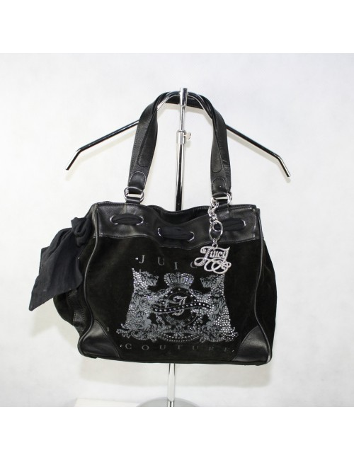 JUICY COUTURE black velour woman tote bag