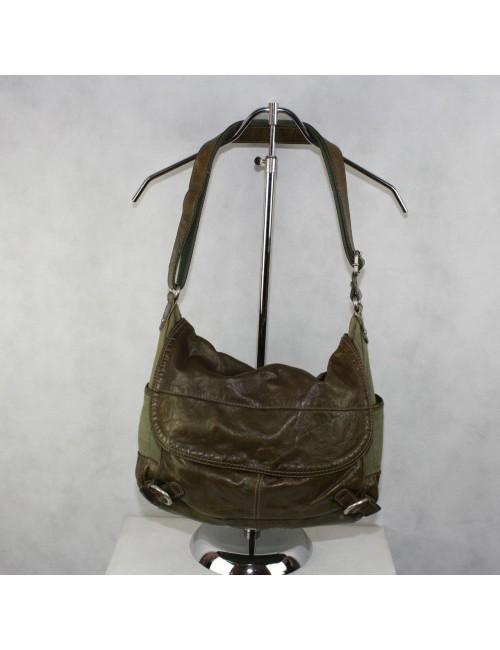 FOSSIL olive green canvas messenger bag
