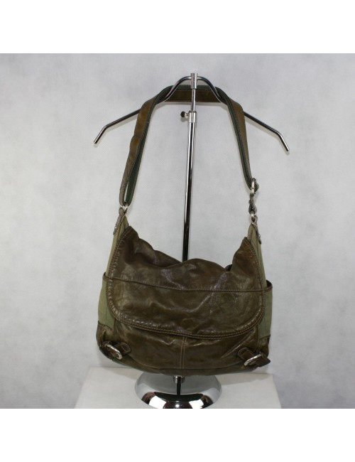FOSSIL olive green canvas messenger bag