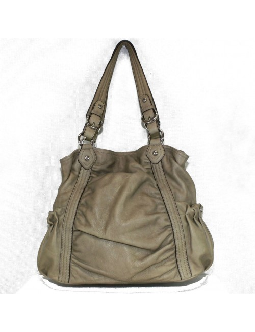 B. Makowsky Beige Padded Leather Handbag