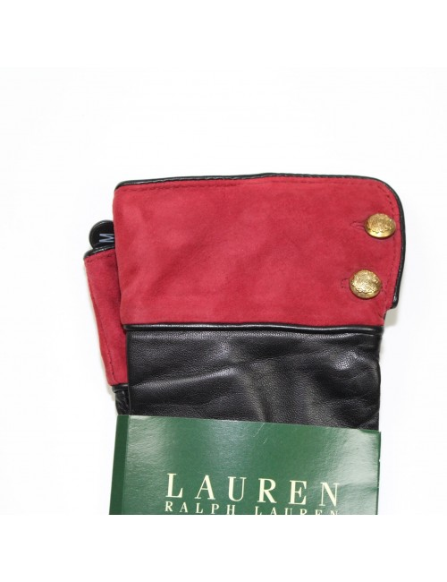LAUREN RALPH LAUREN Women's Black Leather Gloves!