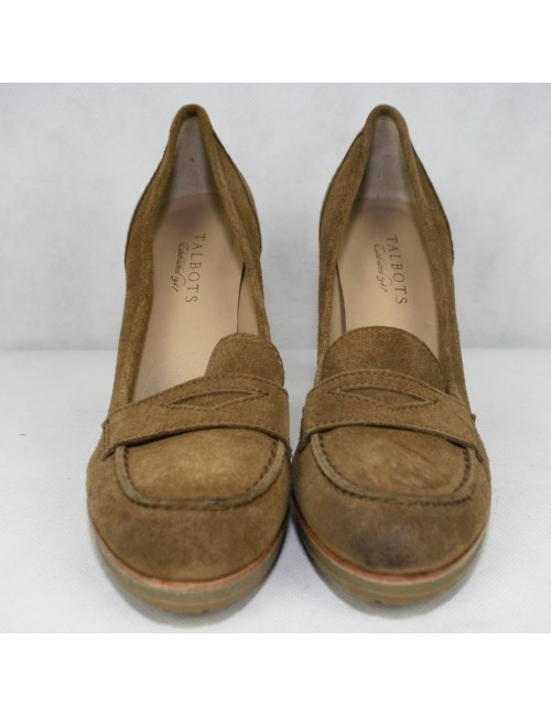 TALBOTS womens brown Corrine platform penny loafers