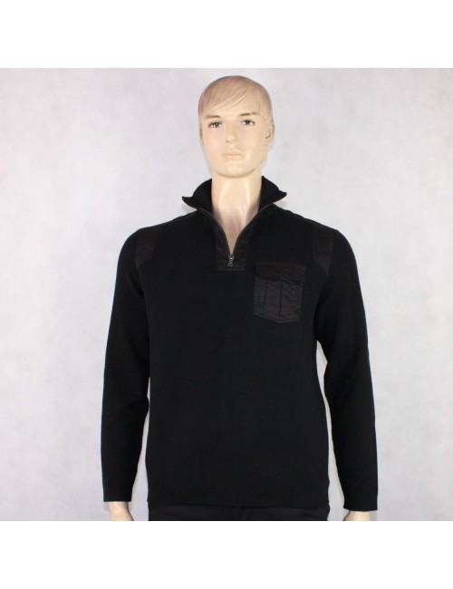 CALVIN KLEIN Men's Black Half Zip Henley Sweater (L)