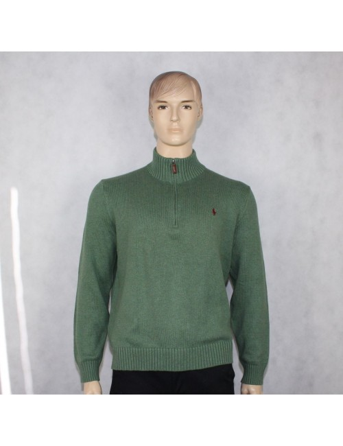 POLO RALPH LAUREN mens green cotton half zip sweater (XL)