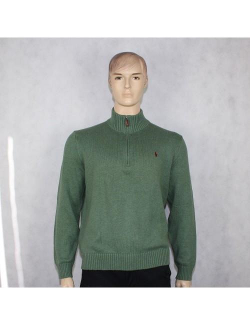 POLO RALPH LAUREN mens green cotton half zip sweater (XL)