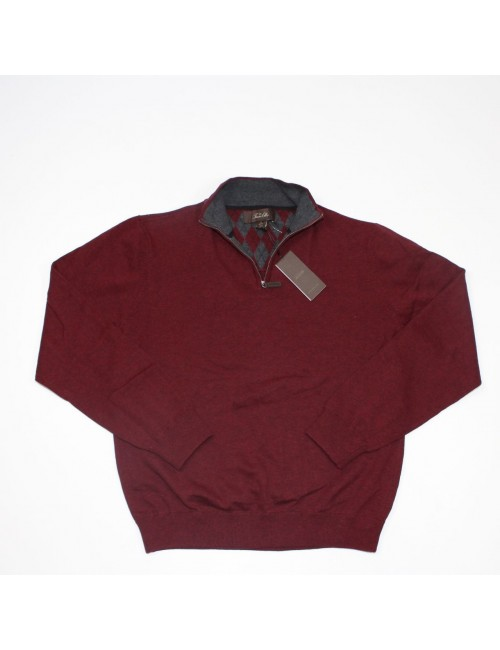 TASSO ELBA Burgundy Half Zip Henley Sweater (M)