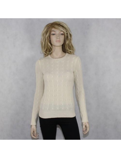 RALPH LAUREN BLACK LABEL slim fit ivory cashmere sweater Size S