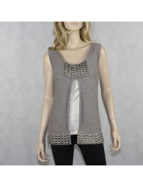 HILTON HOLLIS Silver Sleeveless Cardigan Sweater (L)