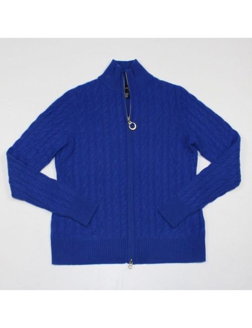 SUTTON STUDIO royal blue zip front 100% cashmere sweater Size M