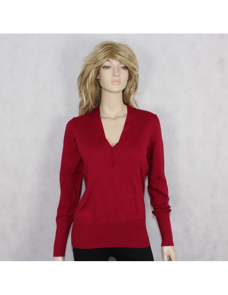BANANA REPUBLIC womens red silk-cotton-cashmere v-neck sweater ...