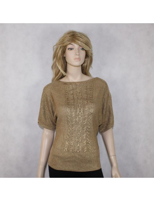 RALPH LAUREN womens gold stretchy sweater (M)