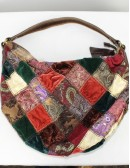 LUCKY BRAND multi kimono silk velvet patch leather trim hobo