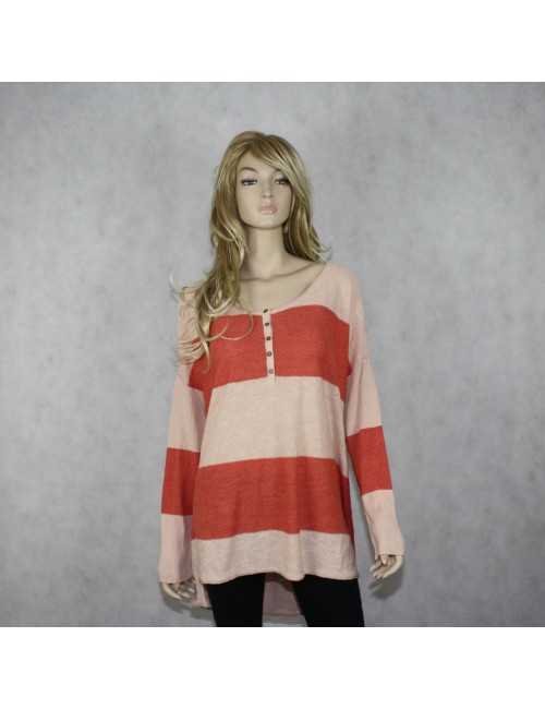 FREE PEOPLE Lightweight Coral Baggy Knit Sweater!