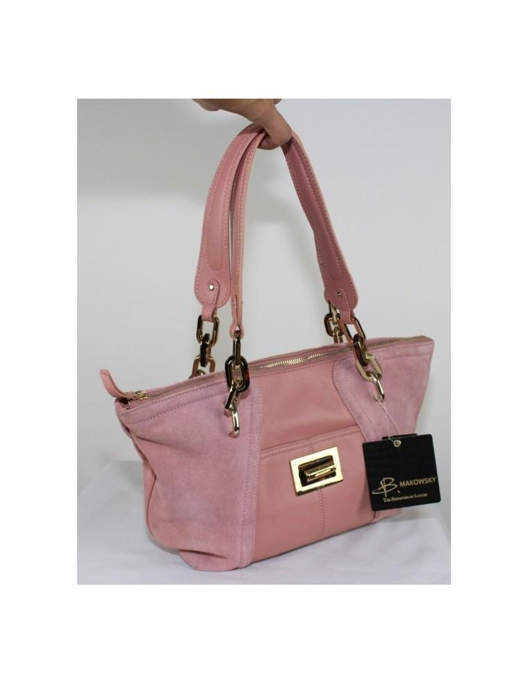 B.MAKOWSKY pink suede leather handbag, great price $55.00